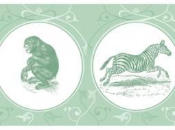 Georgious Wallpaper Border: African Wildlife in green
