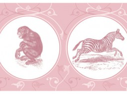 Border: African Wildlife in pink