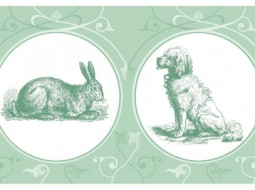 Cat, dog & rabbit, the wallpaper border with pets