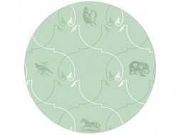 African Animal Ornament – Wallpaper in green